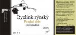 Ryzlink rýnský 2015, Pozdní sběr (Polosladké), Polivka Winery