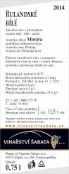 Rulandské bílé 2014, Pozdní sběr (Suché), Vinařství Šabata