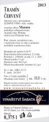 Tramín červený 2013, Ledové víno (Sladké), Vinařství Šabata