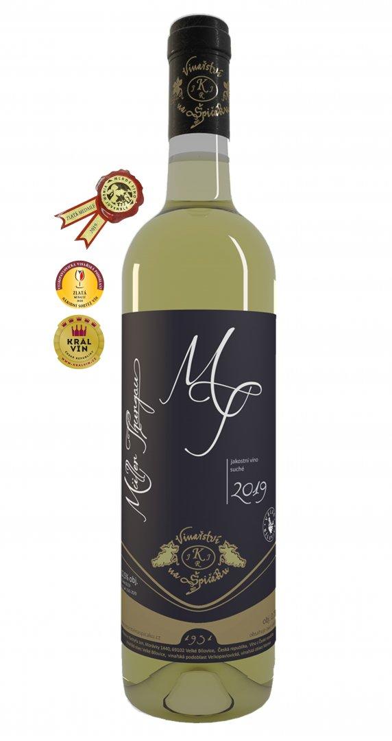 6 × Müller Thurgau 2019, jakostní víno, Vinařství na Špičáku, suché