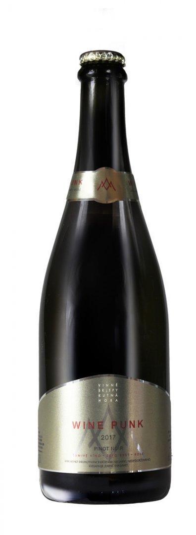 6 × Wine Punk Pinot Noir rosé 2017, zemské víno - perlivé, Vinné sklepy Kutná Hora, suché