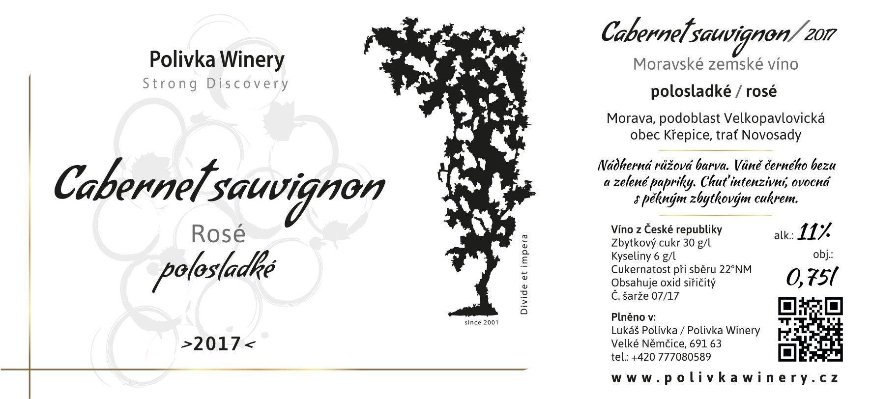 Polivka Winery - Cabernet Sauvignon Rosé - Zemské víno 2017 - 0,75l