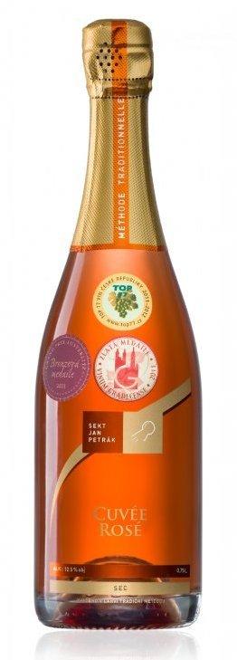 Sekt Jan Petrák - Cuvée Rosé sec - Jakostní šumivé víno - sekt - 0,75l (balení 6 lahví)
