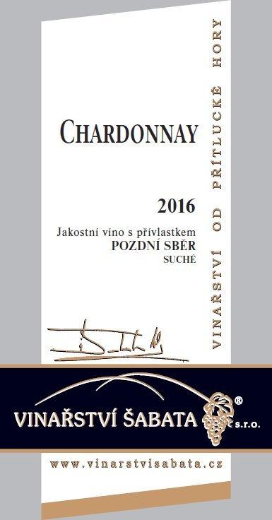 Vinařství Šabata - Chardonnay - Pozdní sběr 2016 - 0,75l (balení 6 lahví)