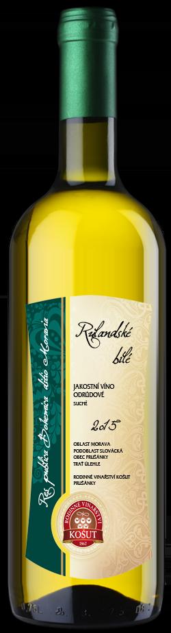 Vinařství Košut - Rulandské bílé - Jakostní víno 2015 - 0,75l (balení 6 lahví)