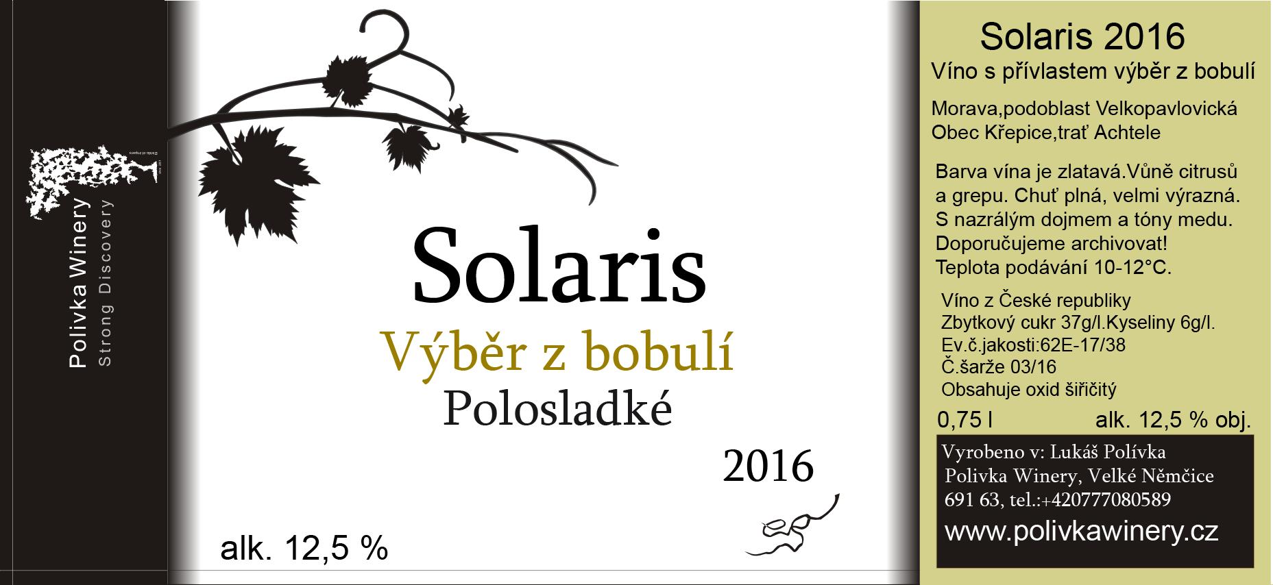 Polivka Winery - Solaris - Výběr z bobulí 2016 - 0,75l (balení 6 lahví)