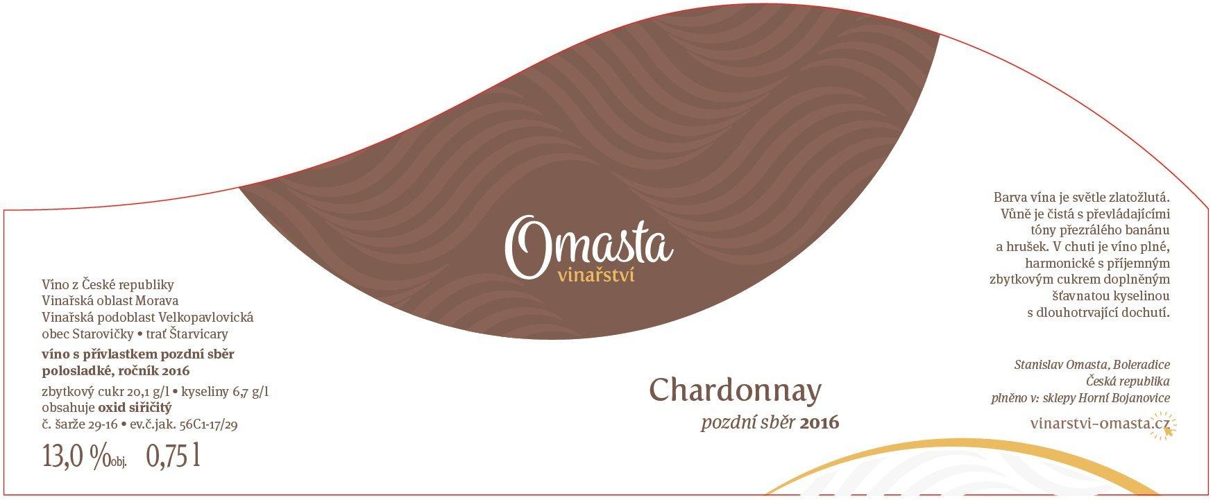 Vinařství Omasta - Chardonnay - Pozdní sběr 2016 - 0,75l (balení 6 lahví)