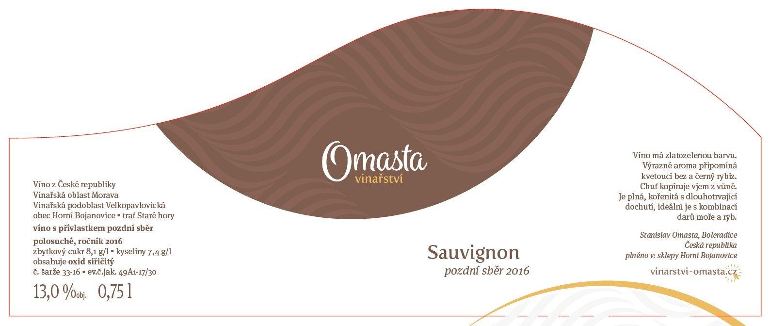 Vinařství Omasta - Sauvignon - Pozdní sběr 2016 - 0,75l (balení 6 lahví)