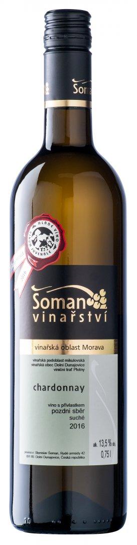 Vinařství Šoman - Chardonnay - Pozdní sběr 2016 - 0,75l (balení 6 lahví)