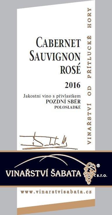 Vinařství Šabata - Cabernet Sauvignon rosé - Pozdní sběr 2016 - 0,75l (balení 6 lahví)