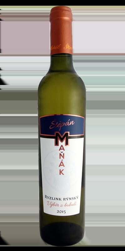 Vinařství Štěpán Maňák - Ryzlink rýnský - Výběr z bobulí 2015 - 0,5l (balení 6 lahví)