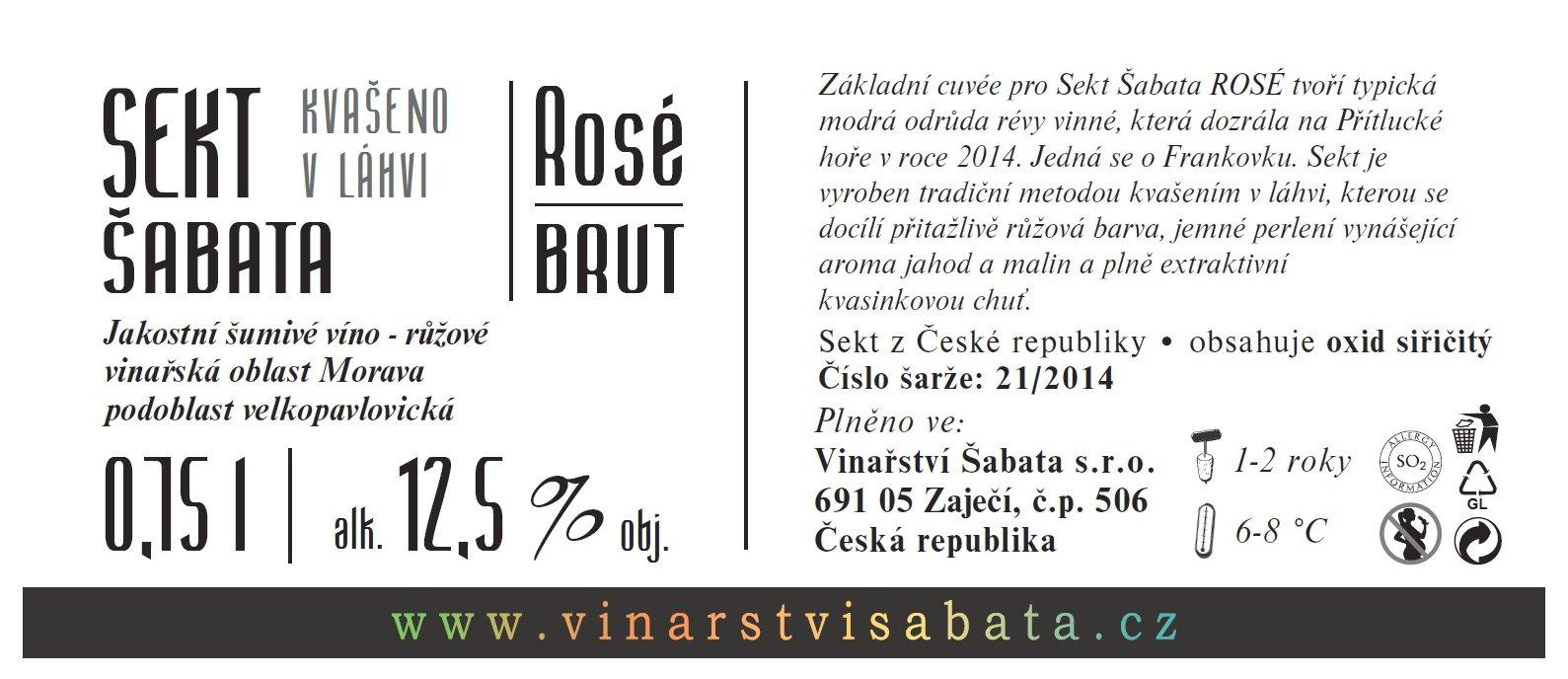 Vinařství Šabata - Sekt Šabata Rosé - Jakostní šumivé víno - sekt - 0,75l (balení 6 lahví)