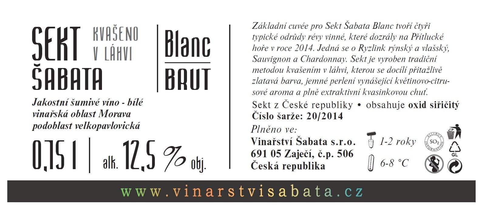 Vinařství Šabata - Sekt Šabata Blanc - Jakostní šumivé víno - sekt - 0,75l (balení 6 lahví)