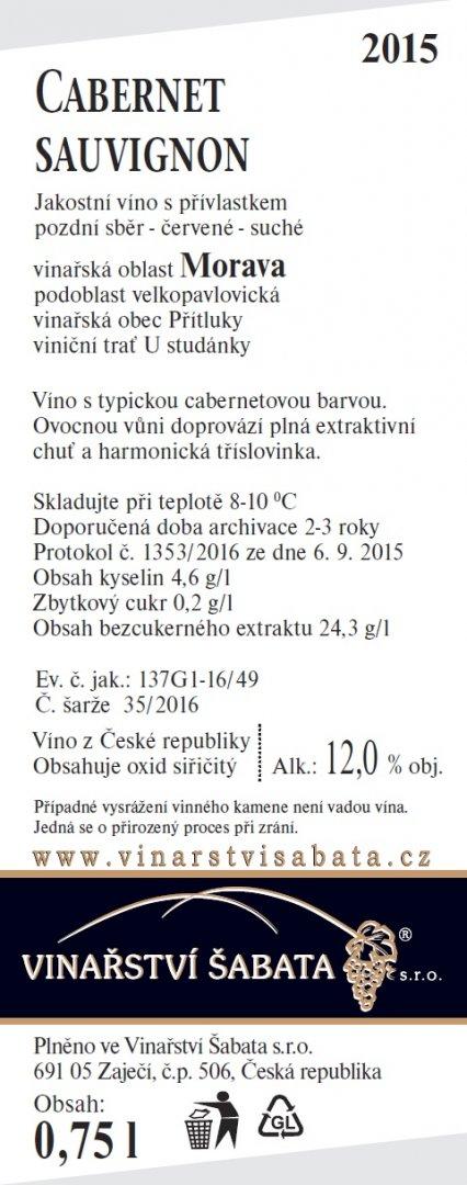 Vinařství Šabata - Cabernet Sauvignon - Pozdní sběr 2015 - 0,75l (balení 6 lahví)