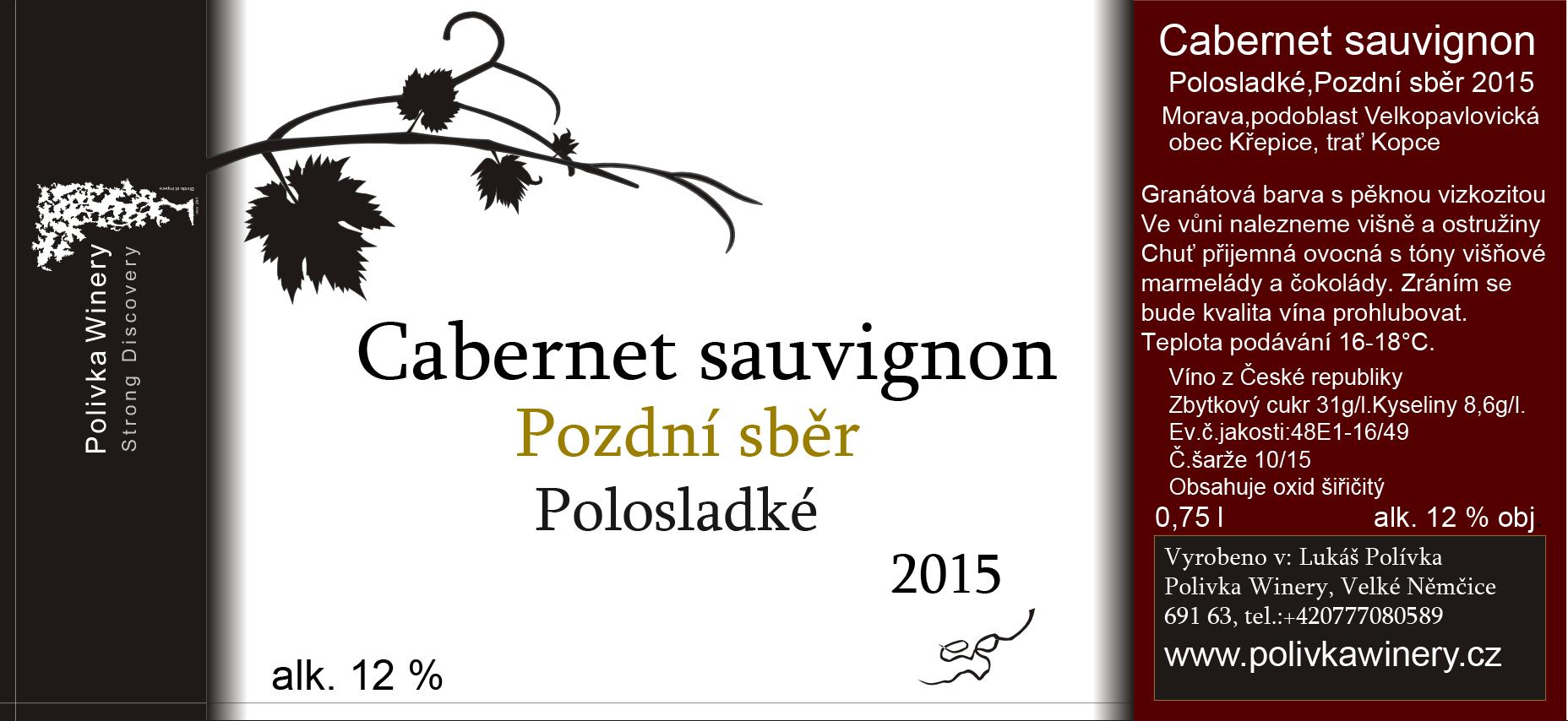 Polivka Winery - Cabernet Sauvignon - Pozdní sběr 2015 - 0,75l (balení 6 lahví)