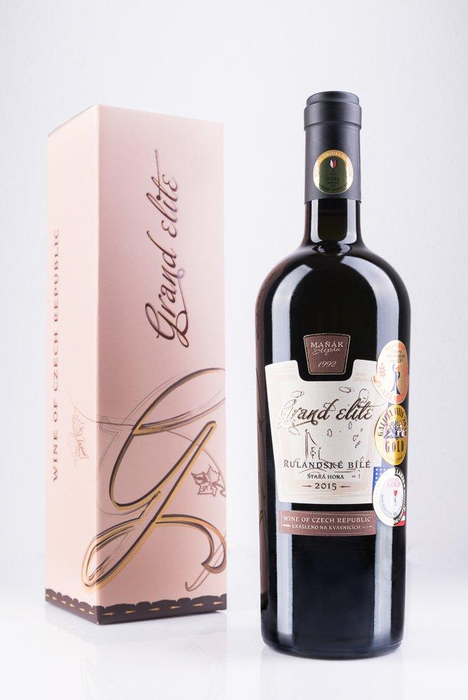 Vinařství Štěpán Maňák - Rulandské bílé - GRAND ELITE - Zemské víno 2015 - 0,75l (balení 6 lahví)