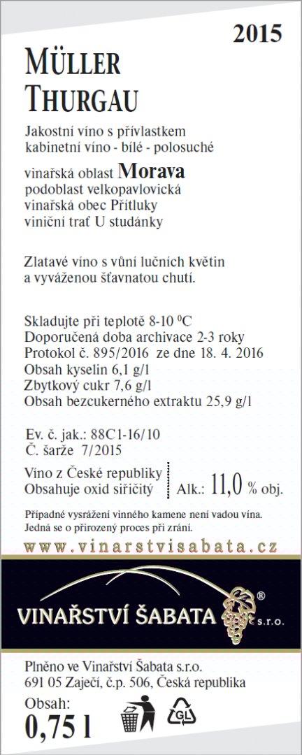 Vinařství Šabata - Müller Thurgau - Kabinetní víno 2015 - 0,75l