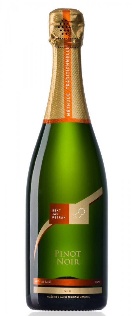 Sekt Jan Petrák - Pinot Noir sec - Jakostní šumivé víno - sekt - 0,75l (balení 6 lahví)