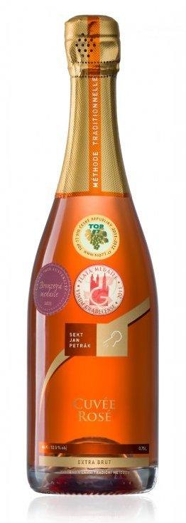 Sekt Jan Petrák - Cuvée Rosé extra brut - Jakostní šumivé víno - sekt - 0,75l (balení 6 lahví)