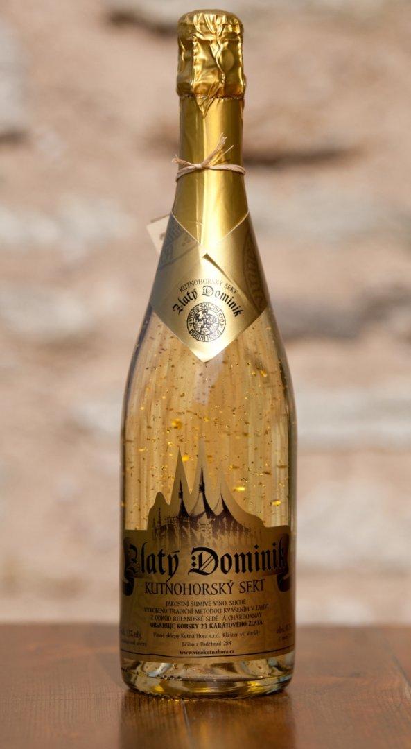 Vinné sklepy Kutná Hora - Sekt ZLATÝ DOMINIK - Jakostní šumivé víno - sekt 2012 - 0,75l