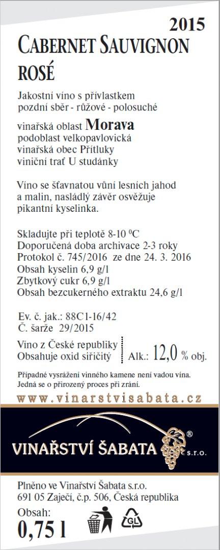 Vinařství Šabata - Cabernet Sauvignon rosé - Pozdní sběr 2015 - 0,75l