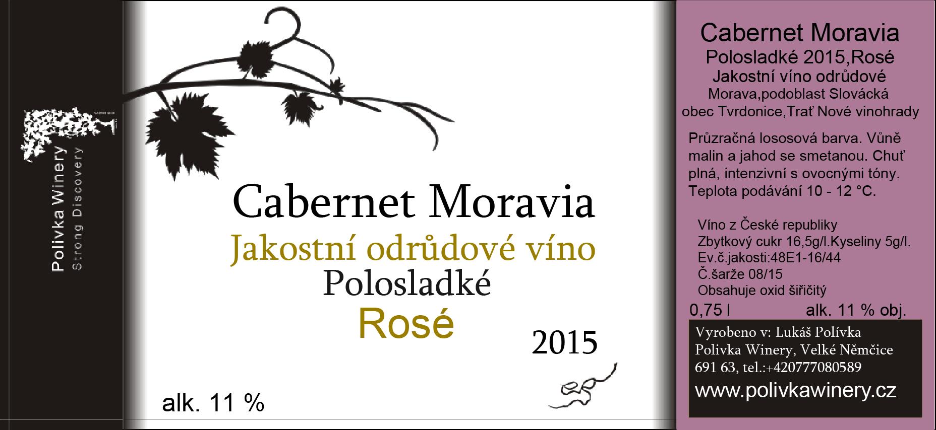 Polivka Winery - Cabernet Moravia - Jakostní víno 2015 - 0,75l