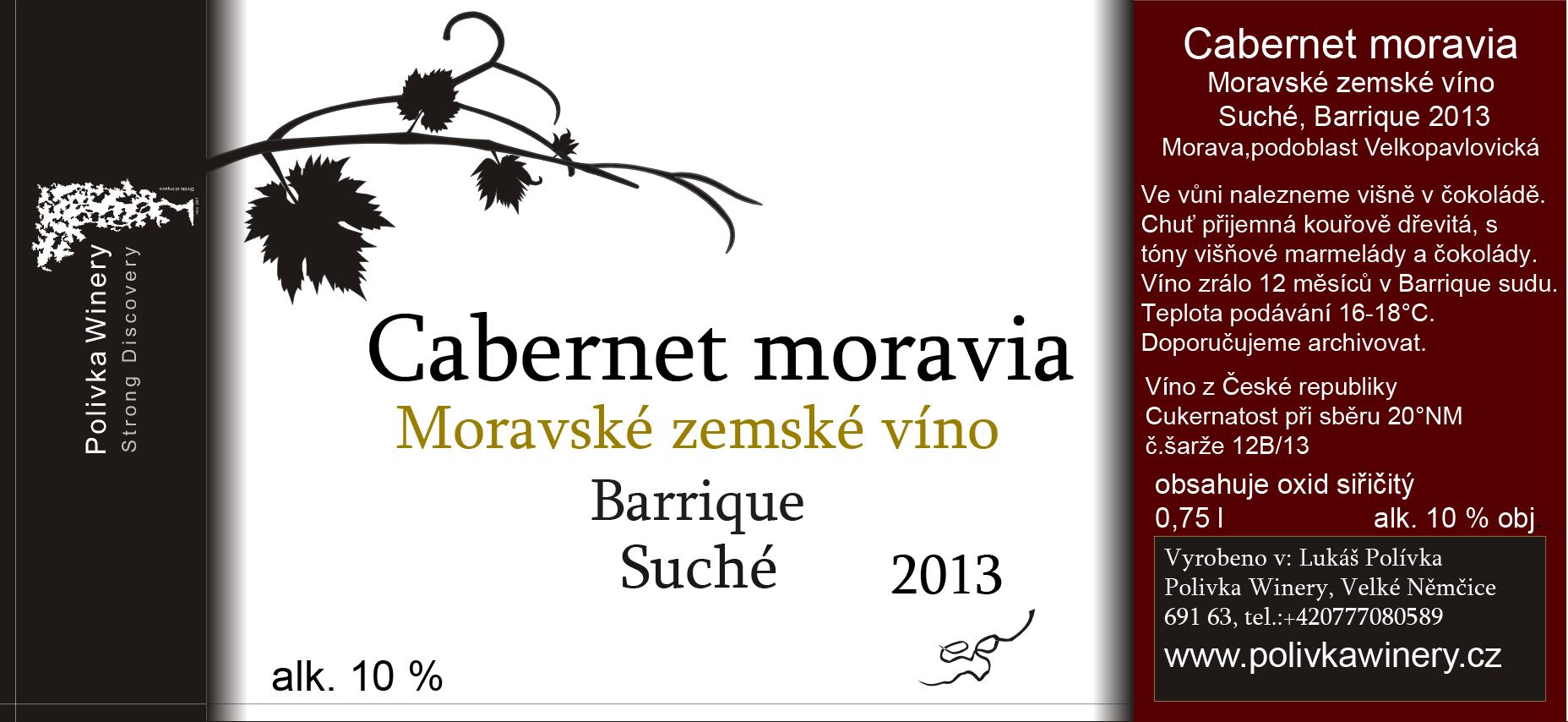 Polivka Winery - Cabernet Moravia - Zemské víno 2013 - 0,75l