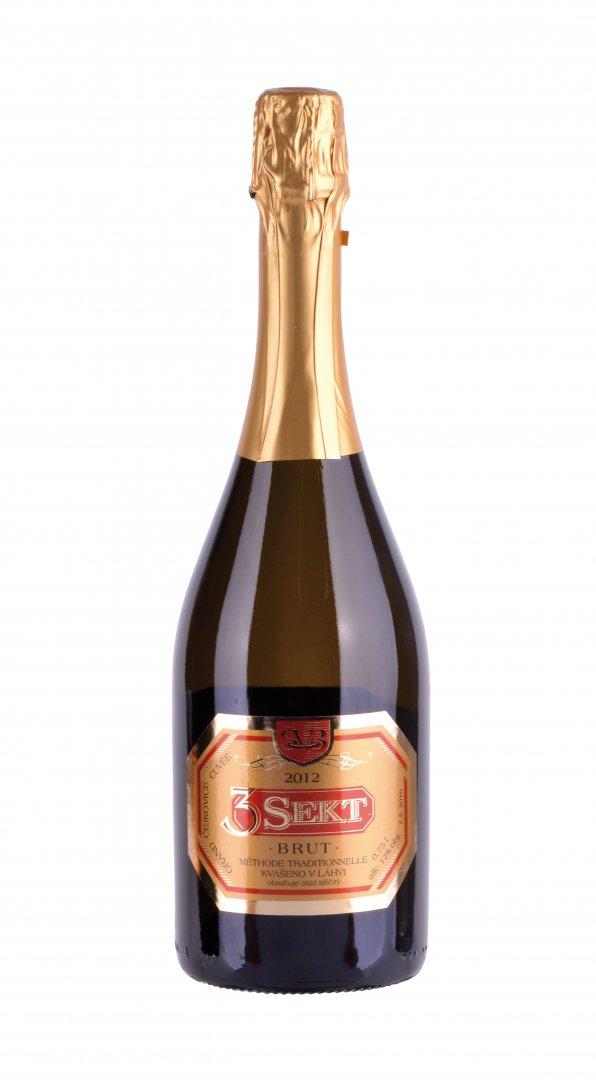 Víno Škrobák - 3Sekt Brut - Jakostní šumivé víno - sekt 2013 - 0,75l (balení 6 lahví)