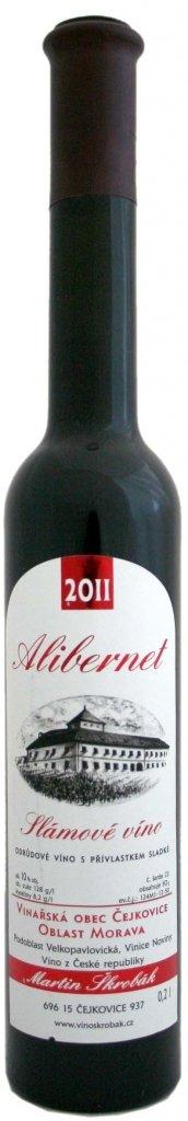 Víno Škrobák - Alibernet - Slámové víno 2011 - 0,2l (balení 6 lahví)