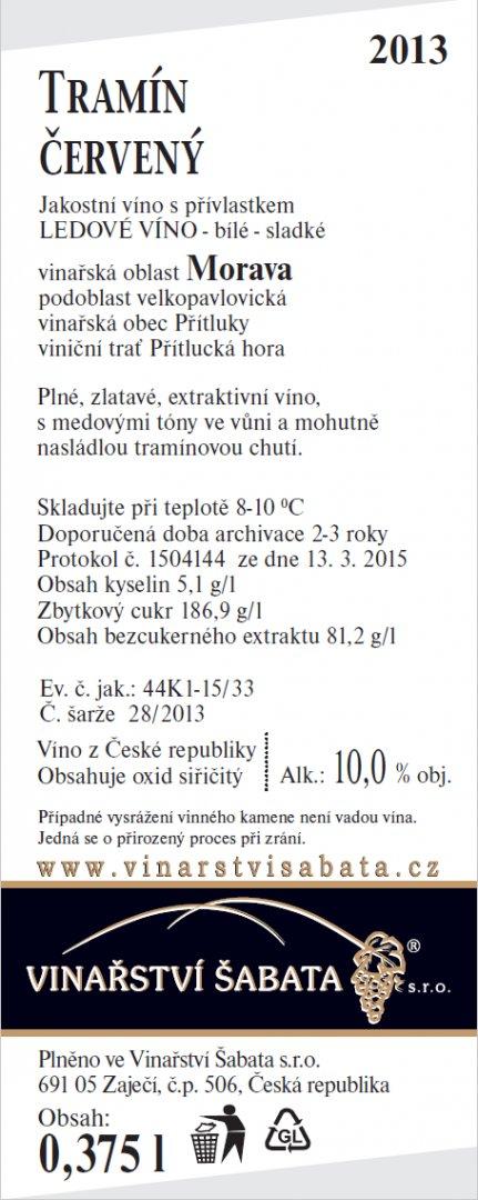 Vinařství Šabata - Tramín červený - Ledové víno 2013 - 0,375l (balení 6 lahví)