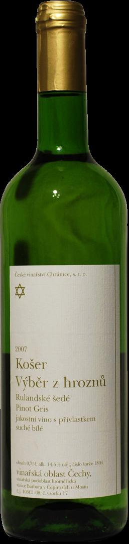 České vinařství Chrámce - Rulandské šedé košer - Výběr z hroznů 2007 - 0,75l