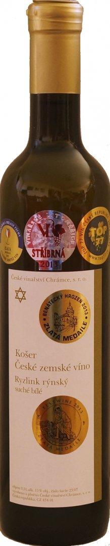 České vinařství Chrámce - Ryzlink rýnský košer - Zemské víno 2007 - 0,5l (balení 6 lahví)
