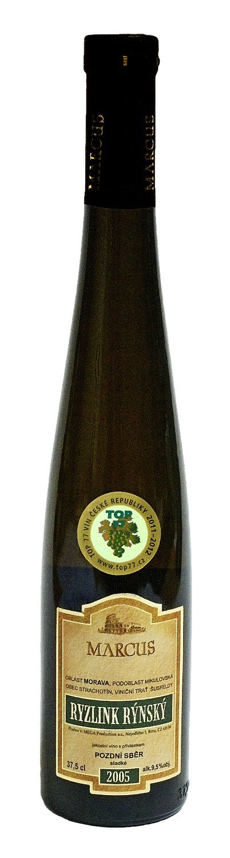 6 × Ryzlink rýnský 2005, pozdní sběr, Vinařství Marcus, sladké